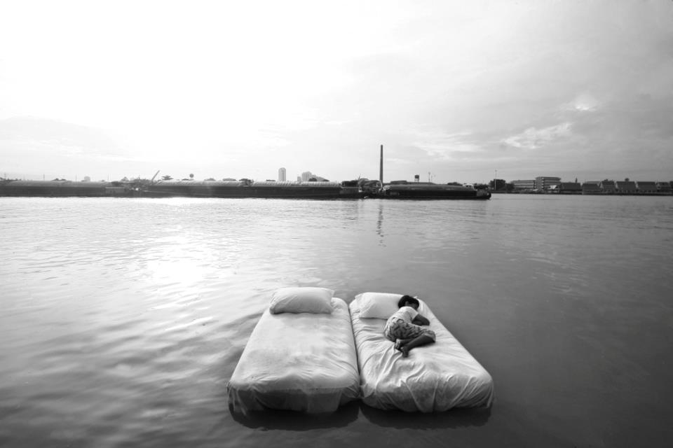 Bed on a river Bangkok