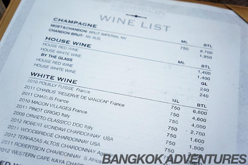Wine list at Zeppelin Sky Bar Sukhumvit 69