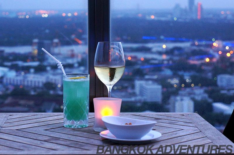 Cocktails and wine at Zeppelin Bangkok Sky Bar