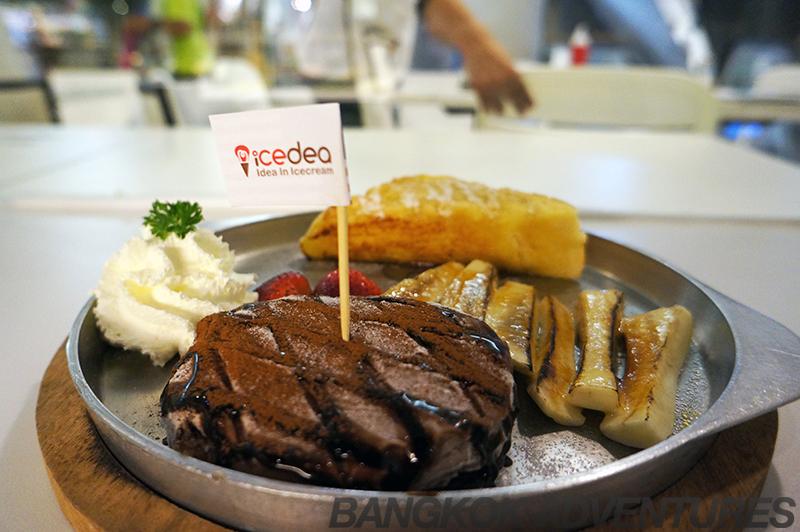 Steak and fries ice cream at Icedea, Bangkok