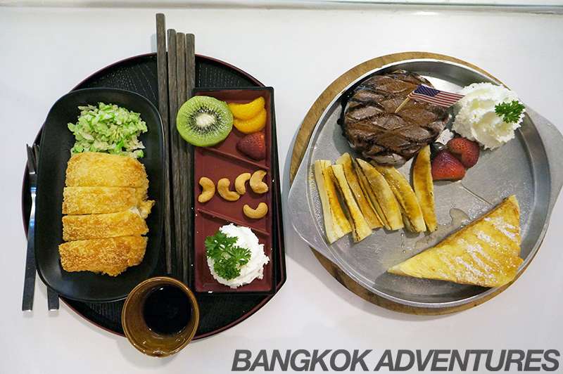 Tonkatsu and steak and fries ice cream at Icedea Bangkok