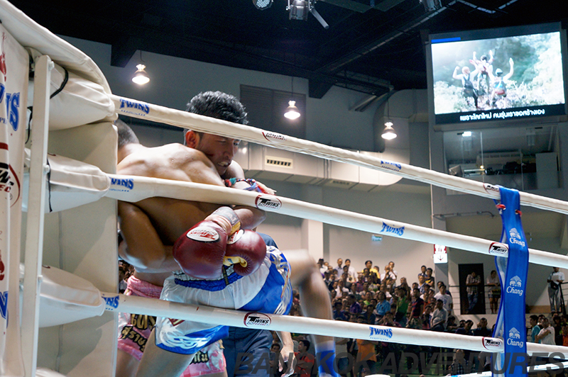 Muay Thai fighters at the new Lumpinee boxing stadium in Bangkok