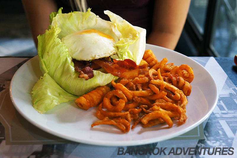 Lettuce leaf bun at the Burger Factory in Bangkok