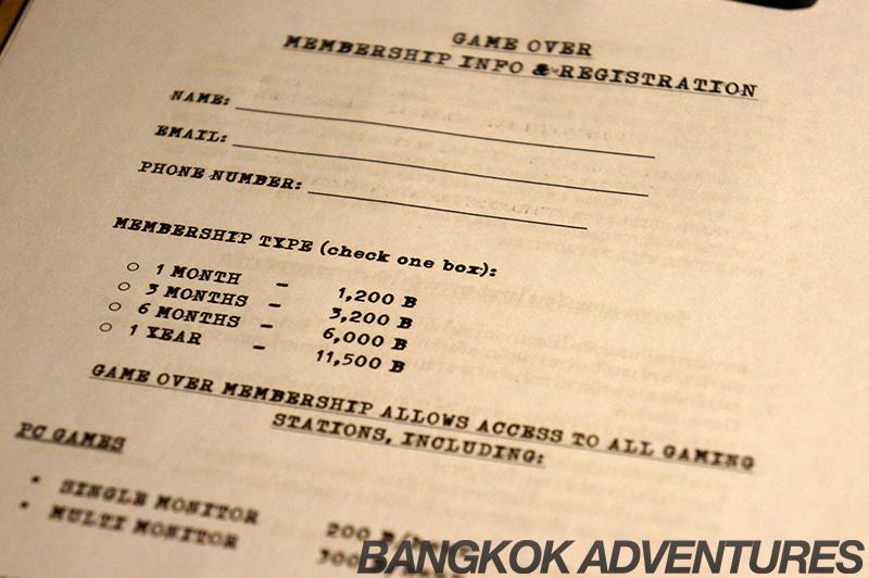 Membership prices at the Game Over Lounge, Bangkok